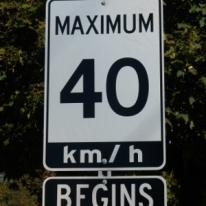 40 begins street sign