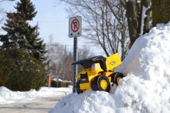 Tonka Truck in snowbank