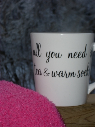 "Cozy Indulgence: ""All you need is tea and warm socks."""