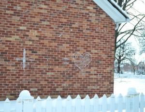 Chalk Heart on Brick Wall