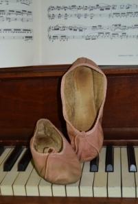 Ballet slippers on keyboard (2)