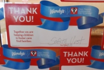Safety - I saw this charity certificate on the wall at Wendy's!