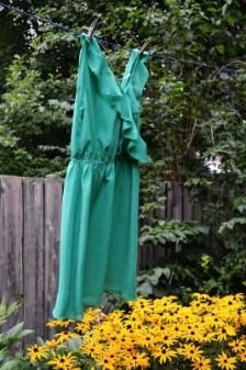 green dress on clothesline