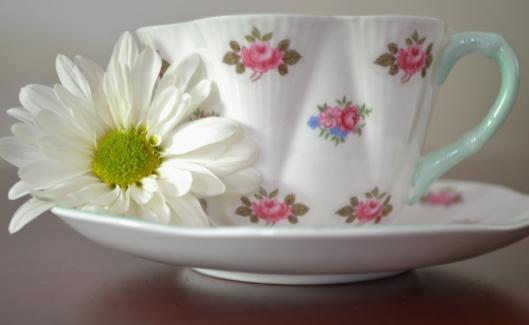 Tea cup and daisy